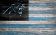 """Carolina Panthers 11"""" x 19"""" Distressed Flag Sign"""