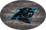 "Carolina Panthers 46"" Distressed Wood Oval Sign"