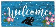 "Carolina Panthers 6"" x 12"" Floral Welcome Sign"