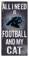 """Carolina Panthers 6"""" x 12"""" Football & My Cat Sign"""