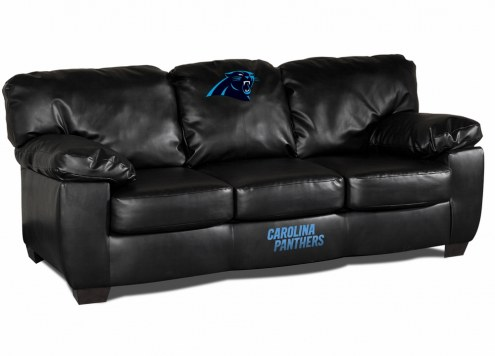 Carolina Panthers Black Leather Classic Sofa