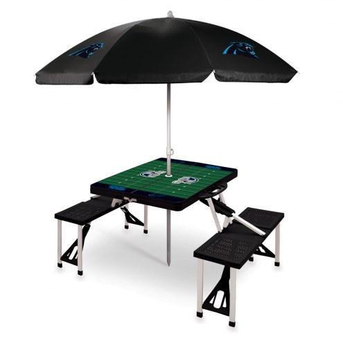 Carolina Panthers Black Picnic Table w/Umbrella