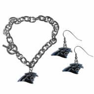 Carolina Panthers Chain Bracelet & Dangle Earring Set