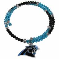 Carolina Panthers Crystal Memory Wire Bracelet