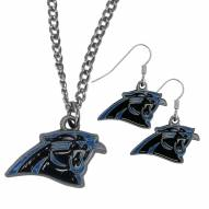 Carolina Panthers Dangle Earrings & Chain Necklace Set