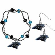 Carolina Panthers Dangle Earrings & Crystal Bead Bracelet Set