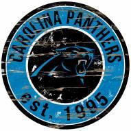 Carolina Panthers Distressed Round Sign