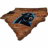 Carolina Panthers Distressed State with Logo Sign
