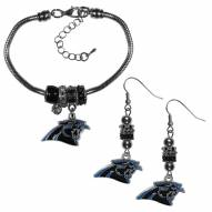 Carolina Panthers Euro Bead Earrings & Bracelet Set