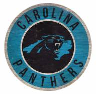 Carolina Panthers Round State Wood Sign