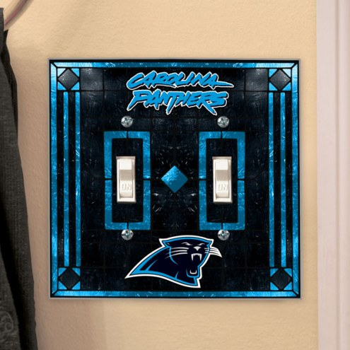 Carolina Panthers Glass Double Switch Plate Cover
