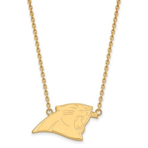 Carolina Panthers Sterling Silver Gold Plated Large Pendant with Necklace