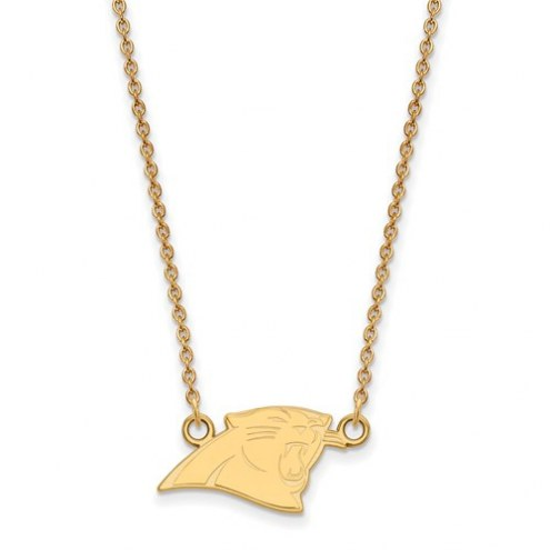 Carolina Panthers Sterling Silver Gold Plated Small Pendant with Necklace