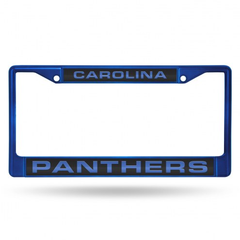Carolina Panthers Laser Colored Chrome License Plate Frame