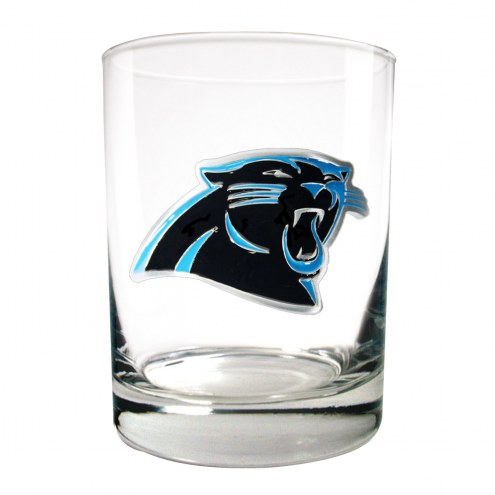 Carolina Panthers Logo Rocks Glass - Set of 2
