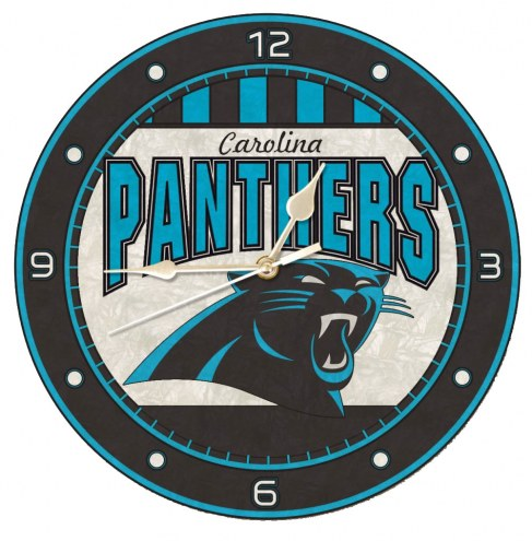 Carolina Panthers NFL Stained Glass Wall Clock