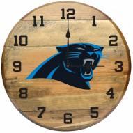 Carolina Panthers Oak Barrel Clock