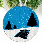 Carolina Panthers Snow Scene Ornament