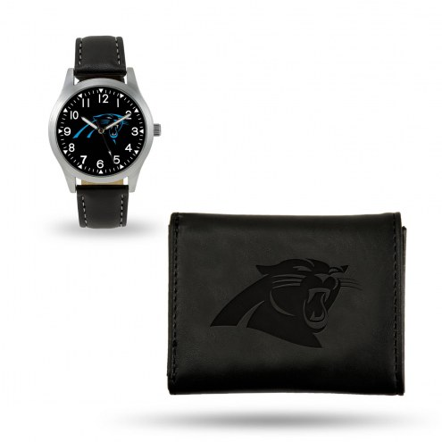 Carolina Panthers Sparo Black Watch & Wallet Gift Set