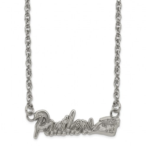 Carolina Panthers Stainless Steel Script Necklace