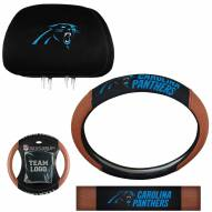 Carolina Panthers Steering Wheel & Headrest Cover Set