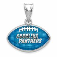 Carolina Panthers Sterling Silver Enameled Football Pendant