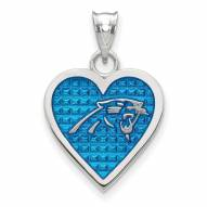 Carolina Panthers Sterling Silver Enameled Heart Pendant