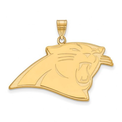 Carolina Panthers Sterling Silver Gold Plated Extra Large Pendant