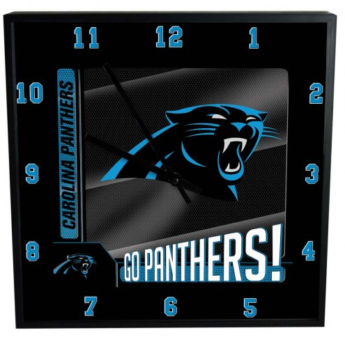 Carolina Panthers Team Black Square Clock