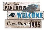 Carolina Panthers Welcome 3 Plank Sign