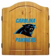 Carolina Panthers NFL Complete Dart Board Cabinet Set (w/darts & flights)