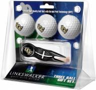 Central Florida Knights Black Crosshair Divot Tool & 3 Golf Ball Gift Pack
