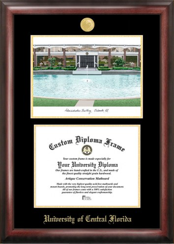 Central Florida Knights Gold Embossed Diploma Frame with Lithograph