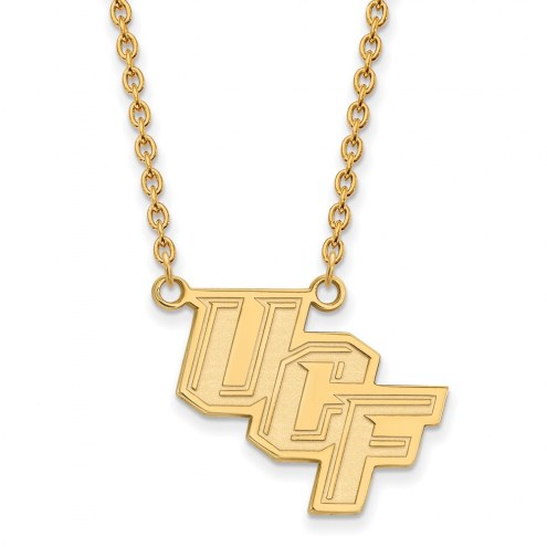 Central Florida Knights Sterling Silver Gold Plated Large Pendant Necklace