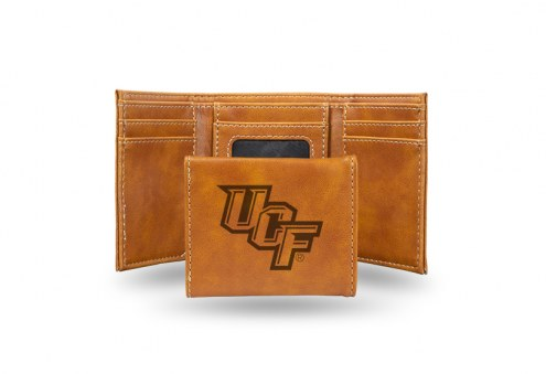 Central Florida Knights Laser Engraved Brown Trifold Wallet