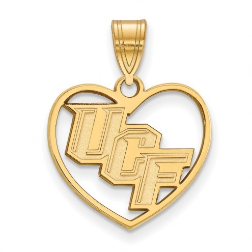 Central Florida Knights Sterling Silver Gold Plated Heart Pendant