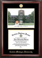 Central Michigan Chippewas Gold Embossed Diploma Frame with Campus Images Lithograph