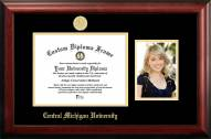 Central Michigan Chippewas Gold Embossed Diploma Frame with Portrait