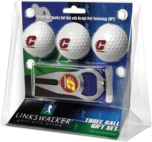 Central Michigan Chippewas Golf Ball Gift Pack with Hat Trick Divot Tool