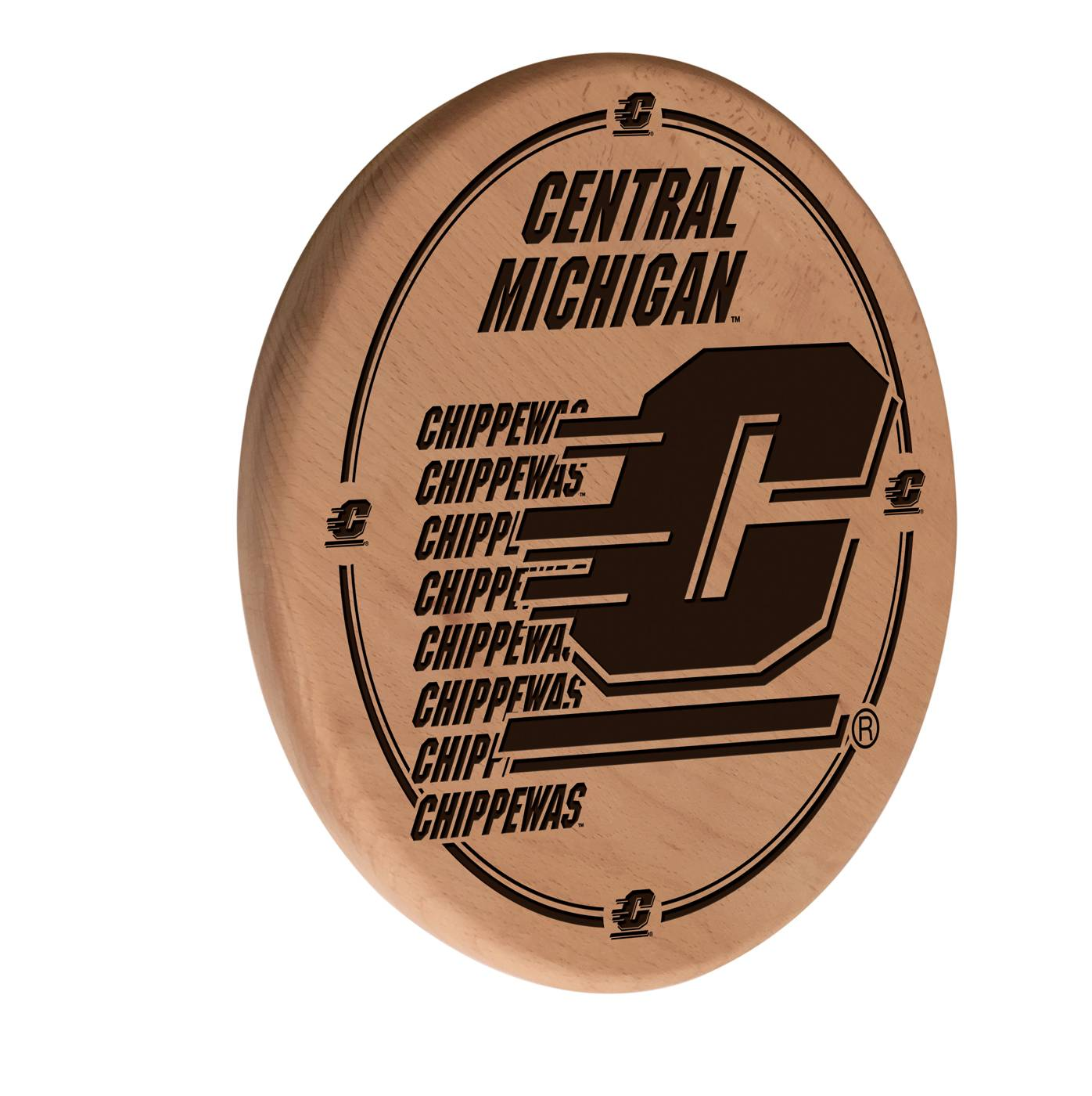 Central Michigan Chippewas Laser Engraved Wood Sign