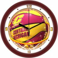 Central Michigan Chippewas Slam Dunk Wall Clock