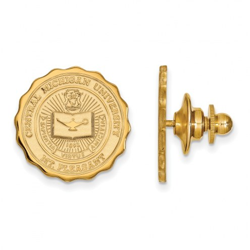 Central Michigan Chippewas Sterling Silver Gold Plated Crest Lapel Pin