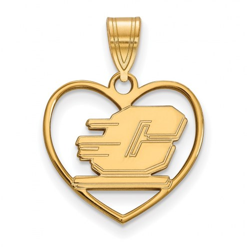 Central Michigan Chippewas Sterling Silver Gold Plated Heart Pendant
