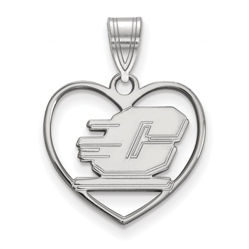 Central Michigan Chippewas Sterling Silver Heart Pendant