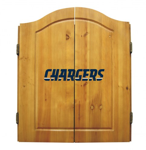 Los Angeles Chargers NFL Complete Dart Board Cabinet Set (w/darts & flights)