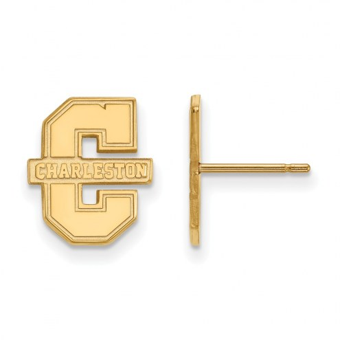 Charleston Cougars NCAA Sterling Silver Gold Plated Small Post Earrings