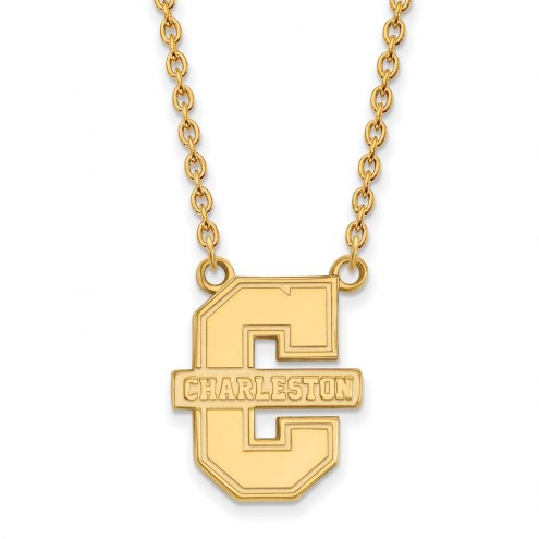 Charleston Cougars Sterling Silver Gold Plated Large Pendant Necklace