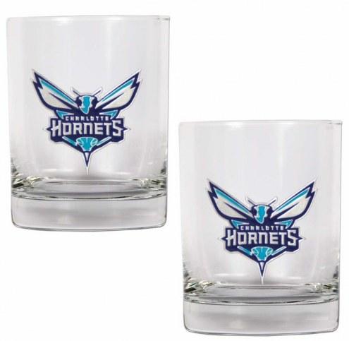 Charlotte Hornets NBA 2-Piece 14 Oz. Rocks Glass Set