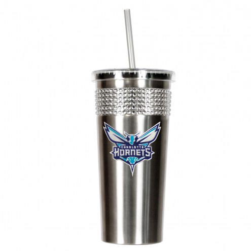 Charlotte Hornets Stainless Steel Bling Tumbler with Straw