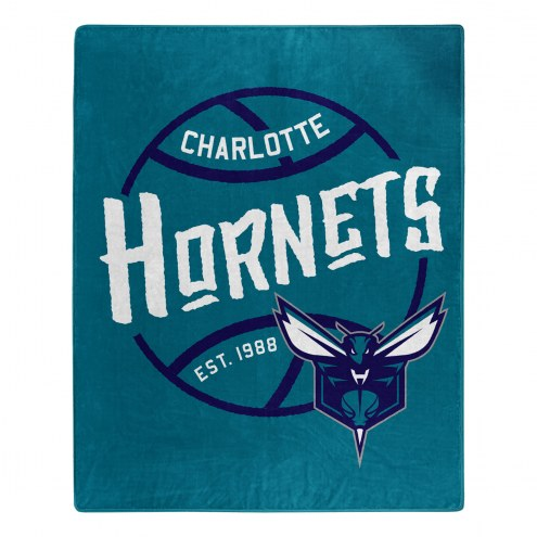 Charlotte Hornets Blacktop Raschel Throw Blanket